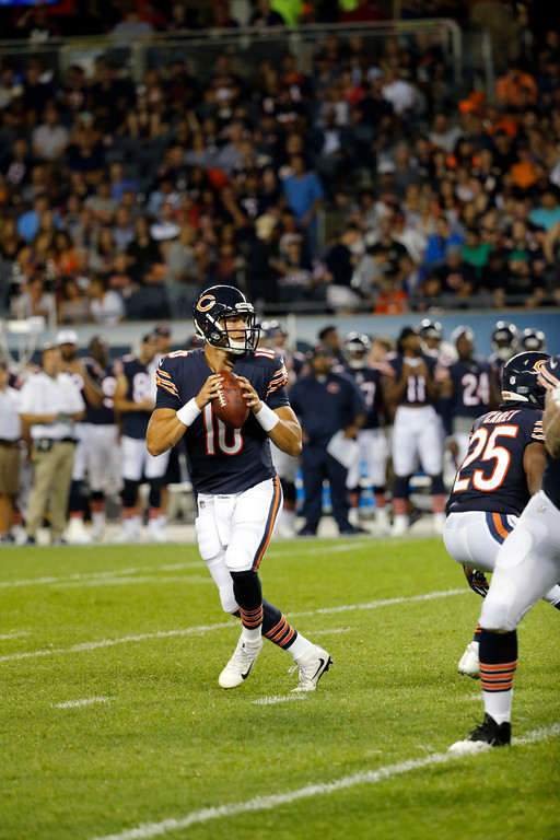 . Chicago Bears quarterback Mitchell Trubisky (10) scrambles during the first half of an NFL preseason football game against the Denver Broncos, Thursday, Aug. 10, 2017, in Chicago. (AP Photo/Charles Rex Arbogast)