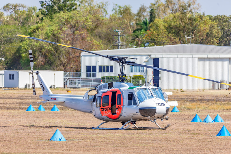 Touchdown Helicopters Bell UH-1H Iriquois VH-OXI at Rockhampton Airport