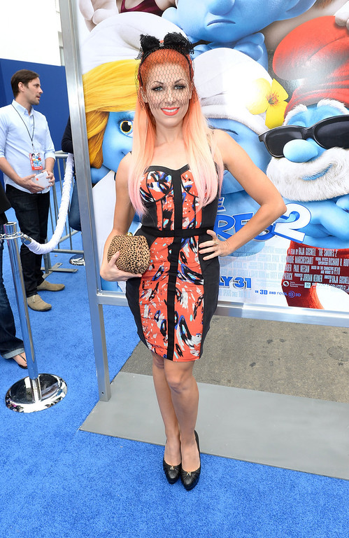 """. Actress Bonnie McKee attends the Los Angeles premiere of \""""The Smurfs 2\"""" at Regency Village Theatre on July 28, 2013 in Westwood, California.  (Photo by Michael Buckner/Getty Images for SONY)"""