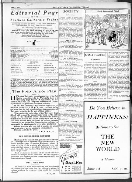 The Southern California Trojan, Vol. 11, No. 95, May 14, 1920
