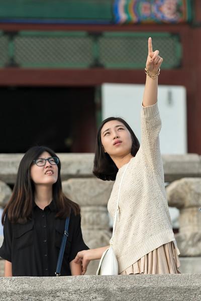 Tourists at Gyeongbokgung Palace, Seoul, South Korea