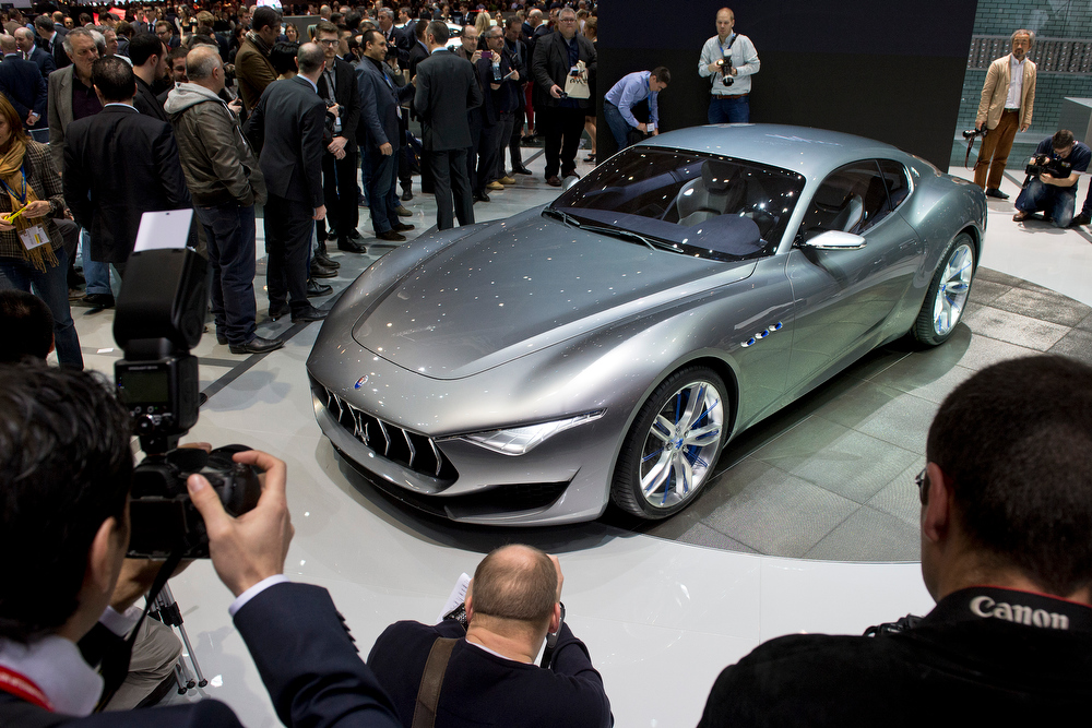 . The New Maserati Alfieri  is on display at the 84. Geneva International Motor Show in Geneva, Switzerland, Tuesday, March 4, 2014. (AP Photo/Keystone, Sandro Campardo)