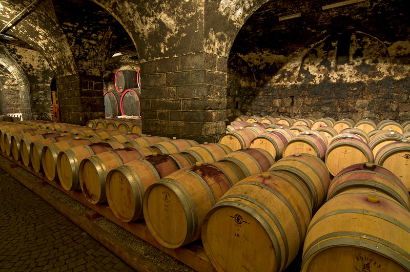 Oak Barrels at Wine Cellar, Bolzano, Italy