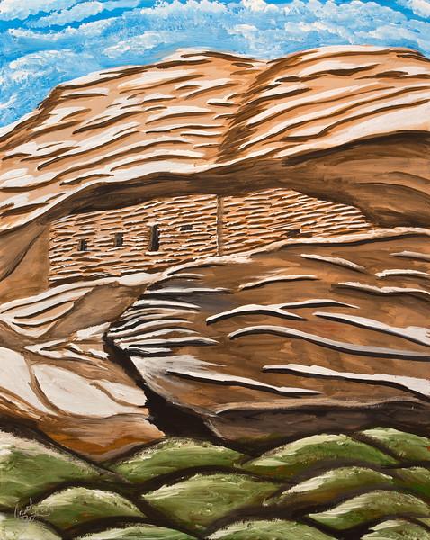 The Citadel, acrylic painting, Bears Ears National Monument, San Juan County, Utah