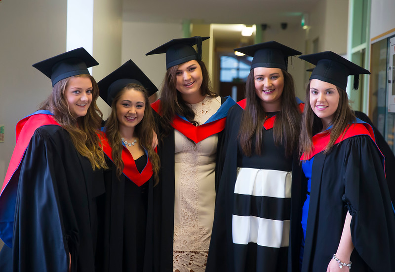 30/10/2015. Waterford Institute of Technology Conferring. Pictured are Alison French, Hayley Driscoll, Kilkenny, Yvonne Cheasty, Kathy Dunne, Kilkenny and Niamh Fenlon, Wexford. Picture: Patrick Browne