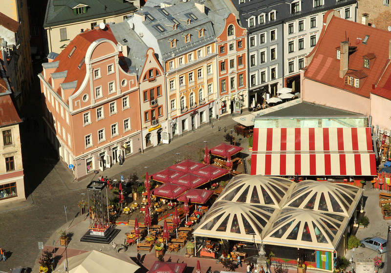 Captivating and colorful view from atop St. Peter's Church -Riga, Latvia