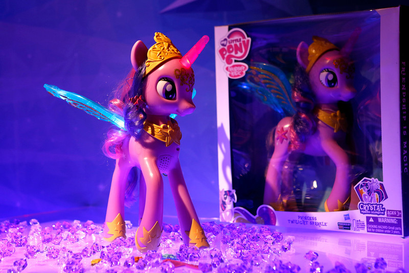 . The MY LITTLE PONY PRINCESS TWILIGHT SPARKLE figure illuminates in Hasbroís showroom at the American International Toy Fair, Sunday, Feb. 10, 2013, in New York.  The princess pony figure, available at retail Fall 2013, is inspired by the upcoming coronation of TWILIGHT SPARKLE in the animated series ìMy Little Pony Friendship is Magic,î created by Hasbro Studios and airing on the Hub TV Network in the US. (Photo by Jason DeCrow/Invision for Hasbro/AP Images)