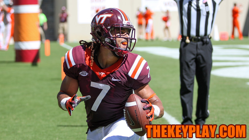 Bucky Hodges looks up after catching his second touchdown, putting the Hokies up by 20 in the third quarter. (Mark Umansky/TheKeyPlay.com)
