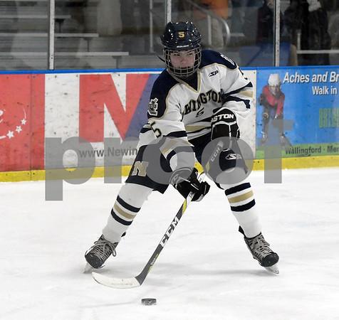 12/30/2017 Mike Orazzi | Staff Newington's Kilian Ranger (5) at the Newington Ice Arena Saturday.