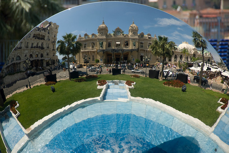 Reflection from the glass ball at the Casino Square Garden - Monte Carlo, Monaco