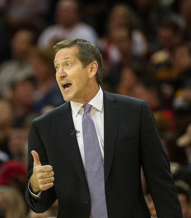 . New York Knicks head coach Jeff Hornacek directs his team during the first half of a basketball game in Cleveland, Tuesday, Oct. 25, 2016. (AP Photo/Phil Long)