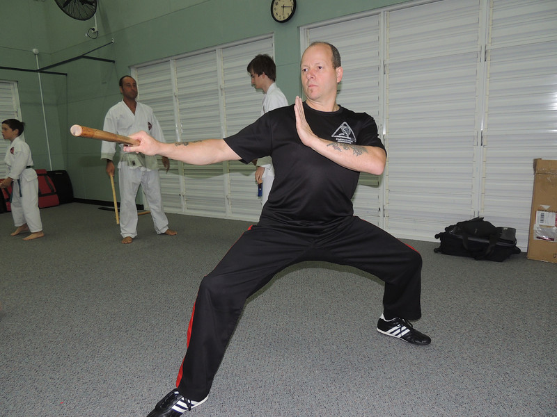 Grandmaster Angelo Demonstrates Classical Arnis Footwork Combat Karate, Noosa,Queensland February 2014