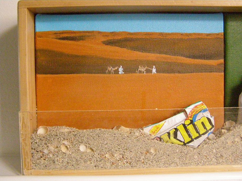 Mauritania Tableau, 1: two men and two camels in the desert (acrylic on canvas)