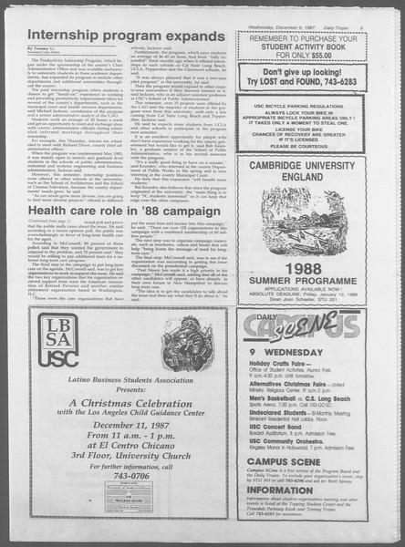 Daily Trojan, Vol. 105, No. 66, December 09, 1987