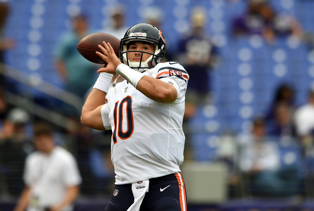 . Chicago Bears quarterback Mitchell Trubisky warms up before an NFL football game against the Baltimore Ravens, Sunday, Oct. 15, 2017, in Baltimore. (AP Photo/Gail Burton)