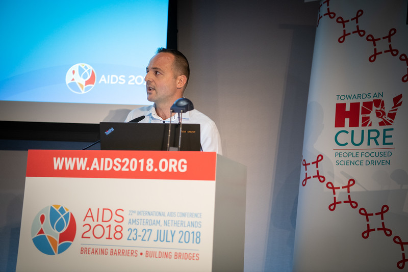 22nd International AIDS Conference (AIDS 2018) Amsterdam, Netherlands.   Copyright: Steve Forrest/Workers' Photos/ IAS  Photo shows: HIV Cure Research with the Community Workshop: What is New in the Clinic? Cipri Martinez, NAPWHA, Australia, speaking.