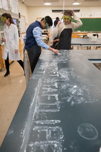 Emily Adler's Advanced Chemistry students make chalk