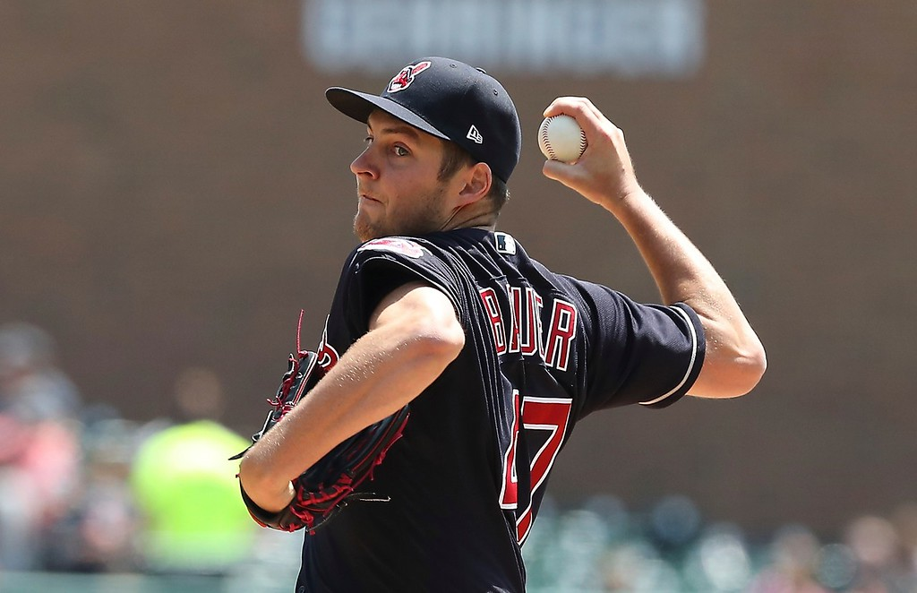 . Cleveland Indians starting pitcher Trevor Bauer throws during the first inning of a baseball game against the Detroit Tigers, Wednesday, May 16, 2018, in Detroit. (AP Photo/Carlos Osorio)