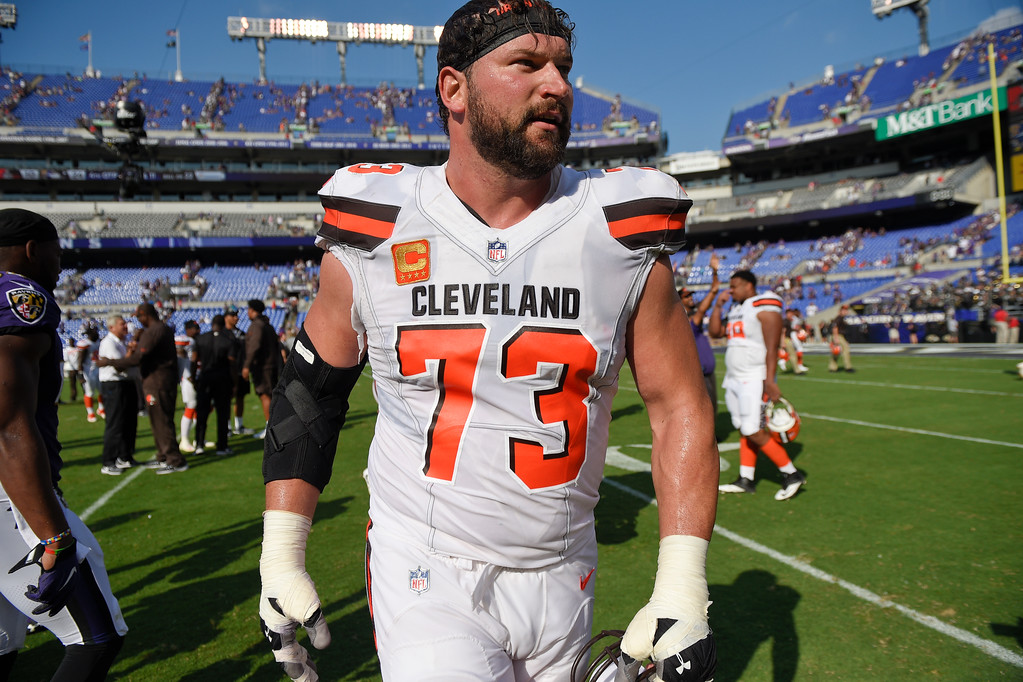 . Cleveland Browns offensive tackle Joe Thomas (73) walks off the field an NFL football game against the Baltimore Ravens in Baltimore, Sunday, Sept. 17, 2017. The Ravens defeated the Browns 24-10. (AP Photo/Nick Wass)