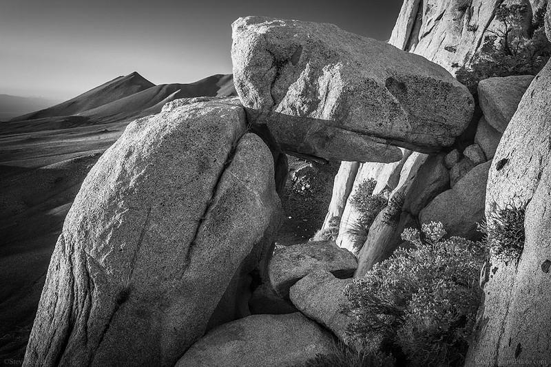 Five Fingers Wedged Rock Southern Sierra BW.jpg