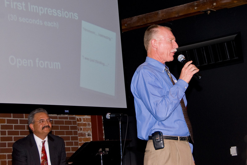 """210 Connect 4/14/2008   Forum topic: """"Pathways to Our Future"""" - an opening dialog to envision a better future for Visalia.Doug Bartsch wrapping up the Three Possible Scenarios and asking audience to provide reactions within the small groups."""
