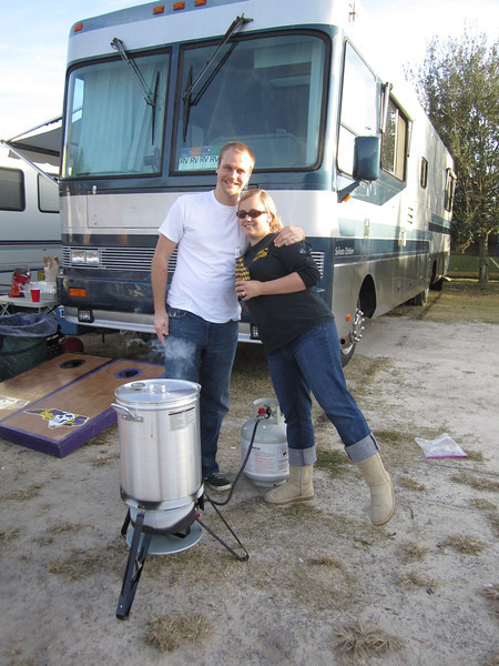 11/19/2011 ECU vs University of Central Florida - Chuck and Jess at the turkey frier