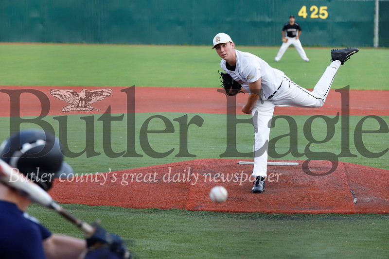 Colby Anderson fires a pitch for the National League team during the Butler County Area Baseball League All Star game Monday night. Seb Foltz/Butler Eagle