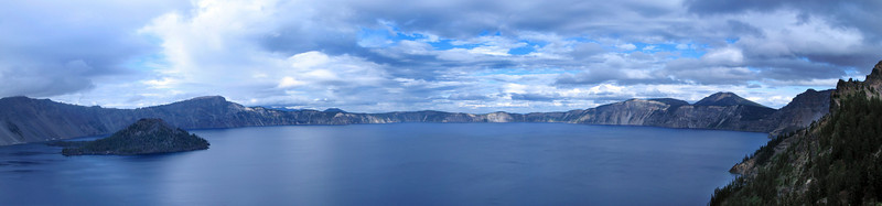 Crater lake Panorama: Composed of a dozen individual photos stitched together in Photoshop. Click the photo and choose one of the large formats for a better look. I'll be disappointed in myself if you can tell where I stitched these together.