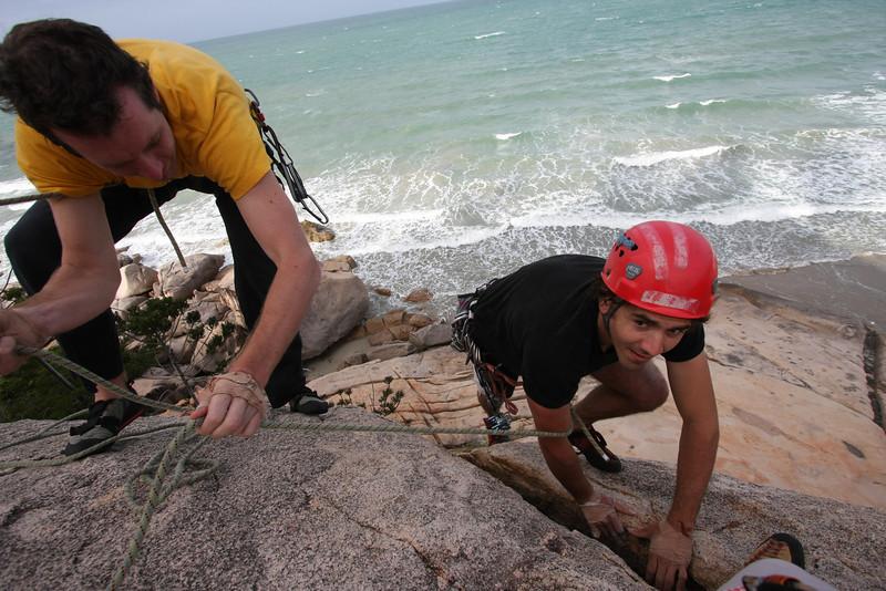 Rock climbing at Magnetic Island, Australia.
