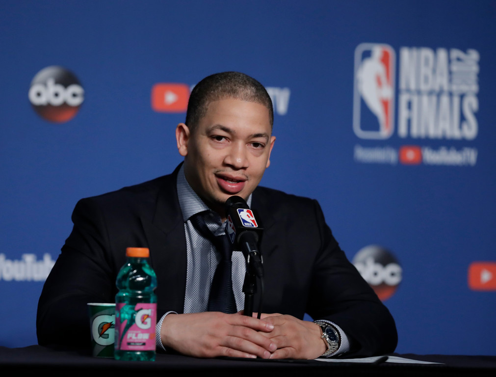. Cleveland Cavaliers coach Tyronn Lue speaks after the Golden State Warriors defeated the Cavaliers 108-85 in Game 4 of basketball\'s NBA Finals to win the NBA championship, Friday, June 8, 2018, in Cleveland. (AP Photo/Tony Dejak)
