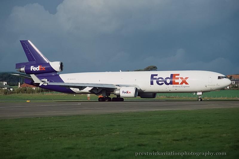 N605FE. McDonnell Douglas MD-11F FedEx Prestwick October 1997.