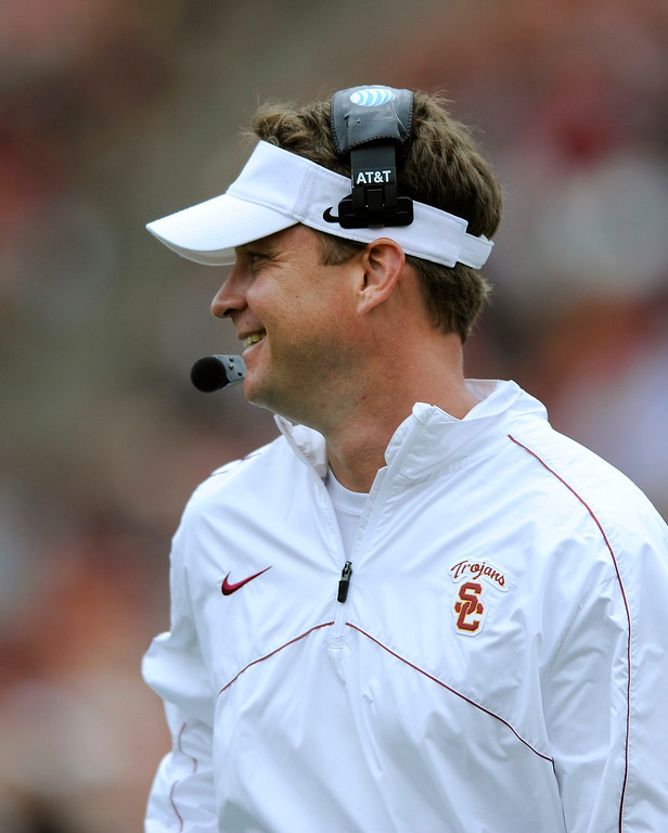 . Head coach Lane Kiffin lets out a smile at USC\'s Spring Football Game at the L.A. Memorial Coliseum, Saturday, April 13, 2013. (Michael Owen Baker/Staff Photographer)