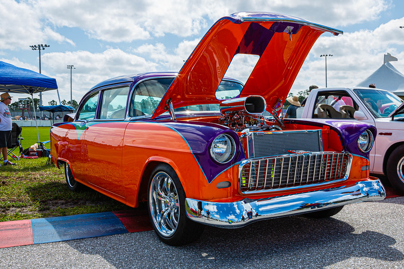 A 1955 Chevy 210 owned by Larry Hayes of Cape Coral at the Super Chevy Show at Palm Beach International Raceway in Jupiter on Saturday, May 25, 2019.  Hayes has owned the small block Chevy for 35 years. [JOSEPH FORZANO/palmbeachpost.com][JOSEPH FORZANO/palmbeachpost.com]