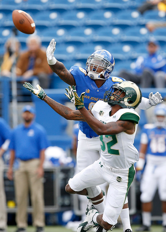 . Colorado State tight end Nolan Peralta (32) catches a pass against San Jose State cornerback Jimmy Pruitt (8) during the first half of an NCAA college football game Saturday, Nov. 1, 2014, in San Jose, Calif. (AP Photo/Tony Avelar)