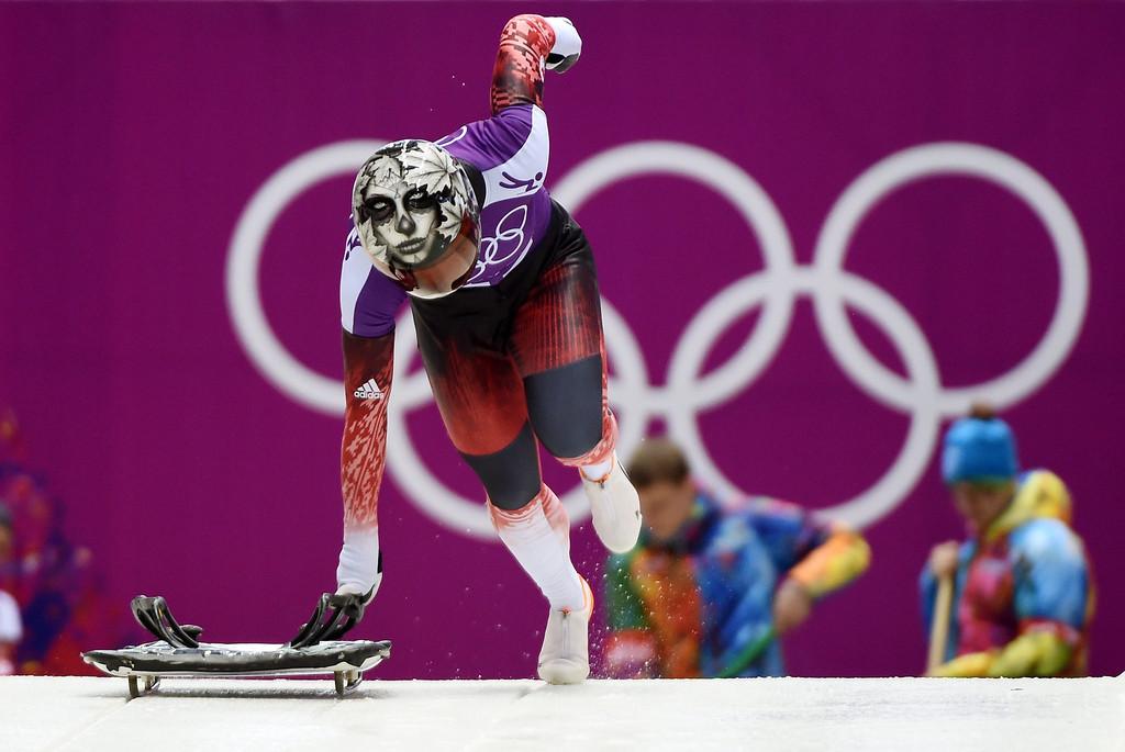 . Sarah Reid of Canada leaves the start during the Women\'s Skeleton training session at Sliding Center Sanki at the Sochi 2014 Olympic Games, Krasnaya Polyana, Russia,.  EPA/TOBIAS HASE