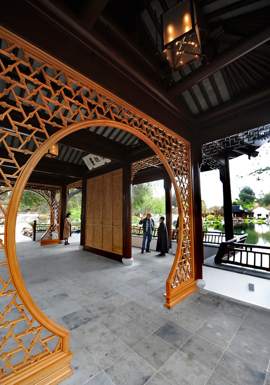 . Entrance to the Clear and Transcendent pavilion in the Chinese Garden and will serve as a lakeside performance space.  A $3 million gift from Judy Yin Shih and Joel Axelrod helped fund the newly completed Clear and Transcendent pavilion at the Huntington Garden, Art Collections, and Botanical Gardens. (Photo by Walt Mancini/Photo by Walt Mancini)