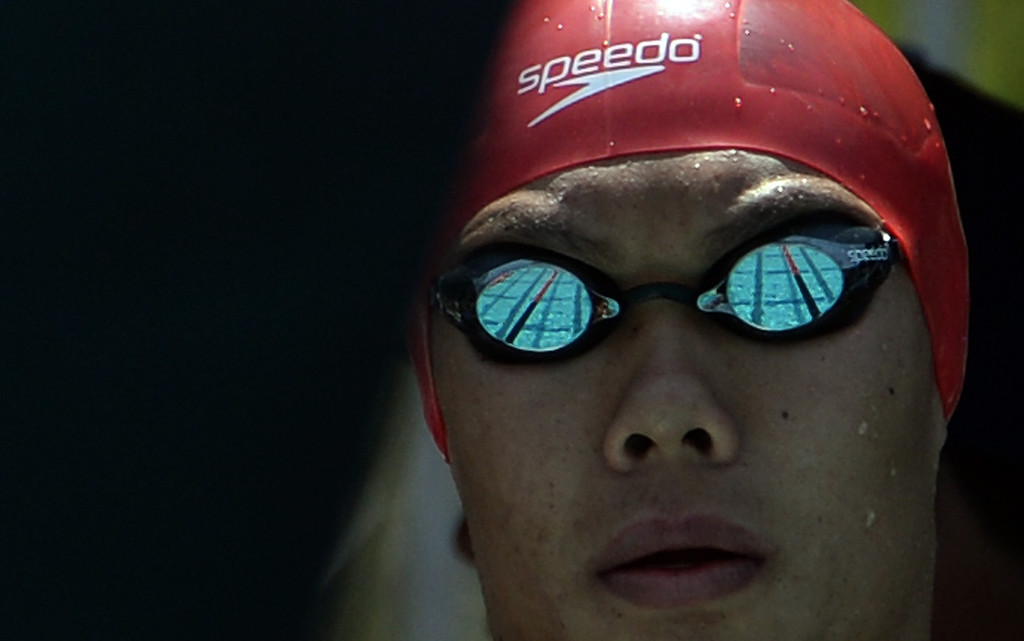 . Mark Keppel\'s Justin Chiu prepares for the 100 yard butterfly during the Division 2 CIF Southern Section Swimming Championships in the Riverside Aquatics Complex at Riverside City College in Riverside, Calif., on Saturday, May 17, 2014.  (Keith Birmingham/Pasadena Star-News)