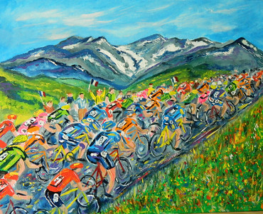 Tour de France, Col du Galibier, 16x20, oil & acrylic, finished july 12, 2012