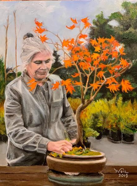 Martha Tending Bonsai