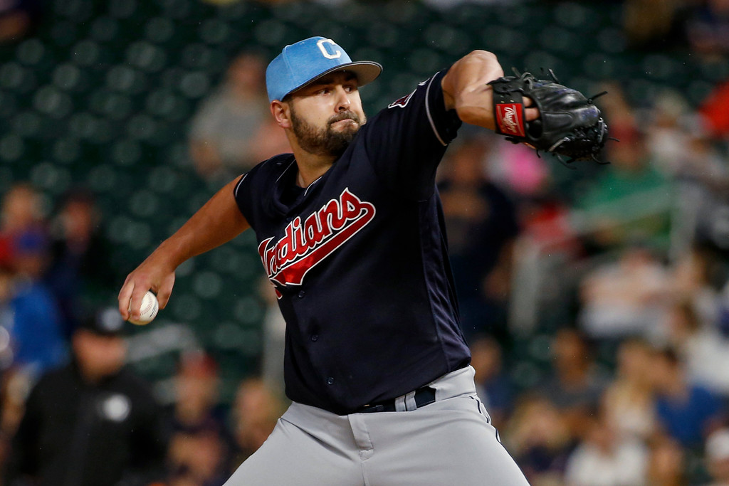 . Cleveland Indians reliever Nick Goody pitches to the Minnesota Twins during the fifth inning of the second baseball game of a doubleheader Saturday, June 17, 2017, in Minneapolis. The Indians won 6-2. (AP Photo/Bruce Kluckhohn)
