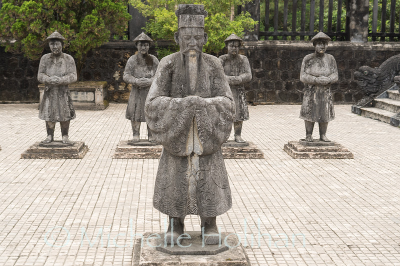 HUE, VIETNAM - MARCH 10, 2019: Statues at the Royal Tomb of Khai Dinh King.