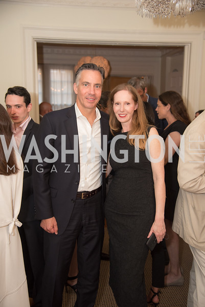 "Jim Sciutto, Juleanna Glover, Book Party with Ambassador Winston Lord, ""Kissinger on Kissinger"", and Jim Sciutto, ""The Shadow War"", at the home of Juleanna Glover and Christopher Reiter.  Summer 2019, Photo by Ben Droz."