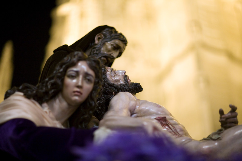 Dead Christ, Nicodemus and Mary Magdalene on a Holy Week float belonging to Santa Marta Brotherhood, Seville, Spain. Carving by Ortega Bru, 20th century sculptor.