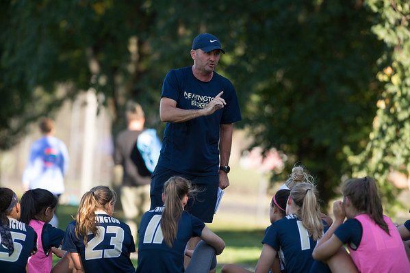 09/17/19 Wesley Bunnell | StaffrrBristol Eastern vs Newington soccer on Tuesday afternoon at Newington High School. Newington's coach Adam Wilkinson addresses his team at the half.
