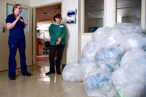 10/24/2019 Mike Orazzi | StaffrBristol Hospital Diana Comandini and Bristol Mayor Ellen Zoppo-Sassu with some of the plastic she collected as part of a city program to save on trash and have a bench produced.