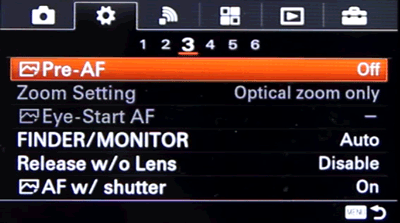 Setting up Back Button Focus on Sony a6000 and a63000 - Step 1