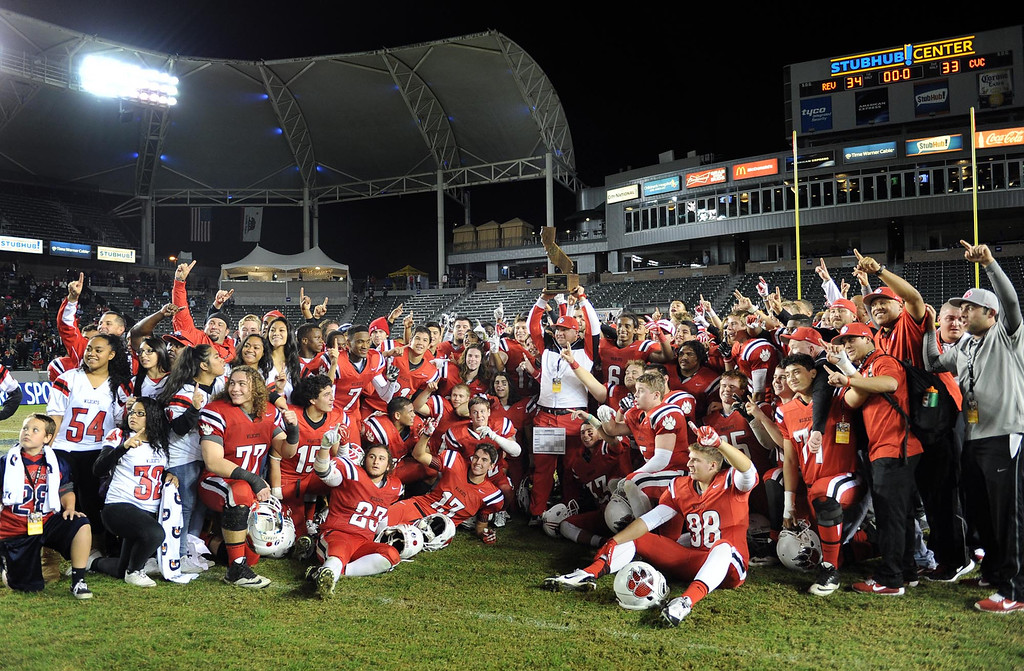 . Redlands East Valley High School celebrates after defeating Clayton Valley Charter 34-33 for the CIF-State Division II championship title on Saturday, December 20, 2014 at StubHub Center in Carson, Ca. (Photo by Micah Escamilla/Redlands Daily Facts)