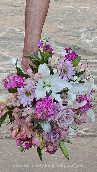 varied shades of pink, lavender and white , cascading