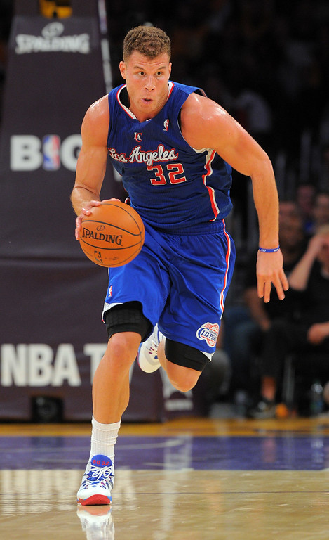 . Clippers Blake Griffin drives down the court in the NBA season opener between the Lakers and Clippers at Staples Center in Los Angeles, CA on Tuesday, October 29, 2013.  Lakers won 116-103. (Photo by Scott Varley, Daily Breeze)