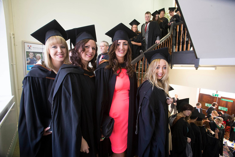 Waterford Institute Of Technology Conferring. Pictured at WIT Waterford Institute Of Technology Conferring  are Shaunagh Coughlin, Wexford, Lisa Cooke, Waterford, Zara Cleary, Waterford and Sadhbh Carron, Dublin who graduated Bachelor of Arts (Honours) Social Care. Picture: Patrick Browne
